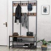 XL Garderoberek met Kapstok in Hout en Metaal - St