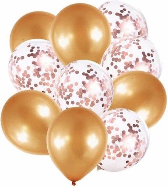Confetti Ballonnen Set 20 Stuks Groot 30 cm (18 inches)| Roze Gouden Witte Confetti Mix | Baby Shower Bruiloft Verjaardag Feestje