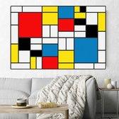 Canvas Schilderij * Pieter Cornelis Mondriaan De Stijl * - Kunst aan je Muur - Kleur - abstract kubisme - 70 x 105 cm
