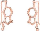 24/7 Jewelry Collection Molecuul Oorbellen - Serotonine - Oorklimmer - Róse Goudkleurig