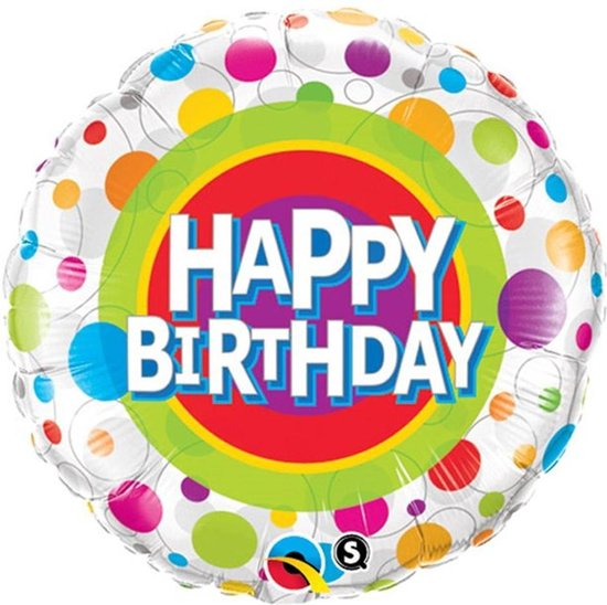 Folieballon 'Happy Birthday' Multi Stippen - 46 centimeter