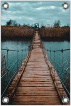 Tuinposter –Houten Loopbrug– 60x90cm Foto op Tuinposter (wanddecoratie voor buiten en binnen)