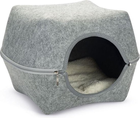 Cat cave yuit felt, grey 46 cm