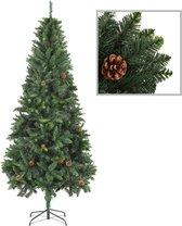 Kunstkerstboom met dennenappels 210 cm groen