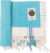 Byron Bay Handdoek - Strandlaken - Kikoy Towel beige/blauw