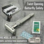 Twist Open Vlinder Scheermes & 5 Double Edge-Mesjes Classic Shaving Vintage