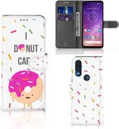 Motorola One Vision Book Cover Donut Roze