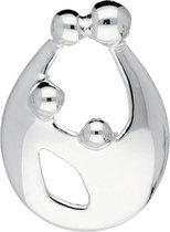 Silver Lining hanger - familie - zilver - 2 kinderen - druppelvorm - glanzend - 15 x 11 mm