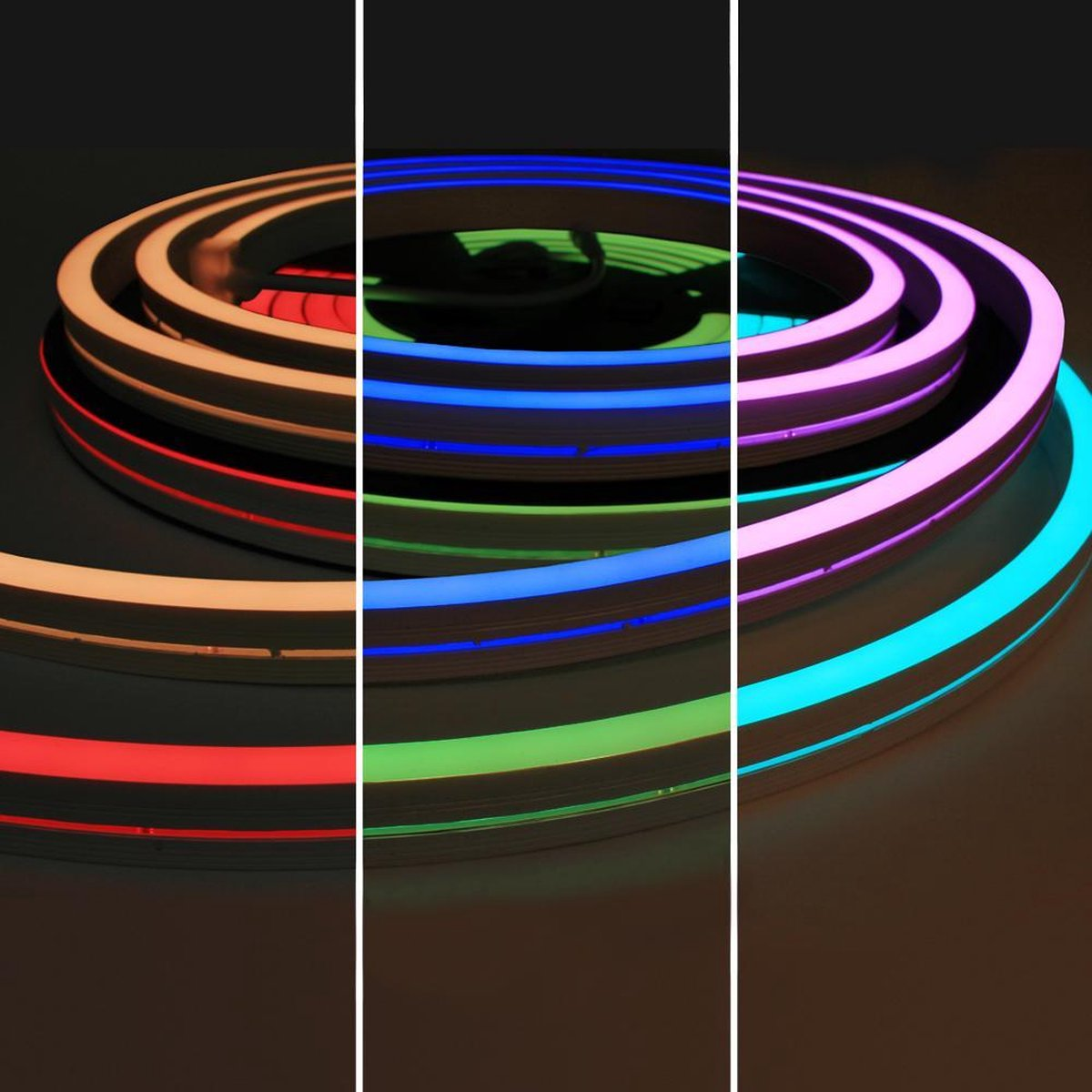 1 meter RGB Neon LED flex Maxi recht - complete set neon verlichting