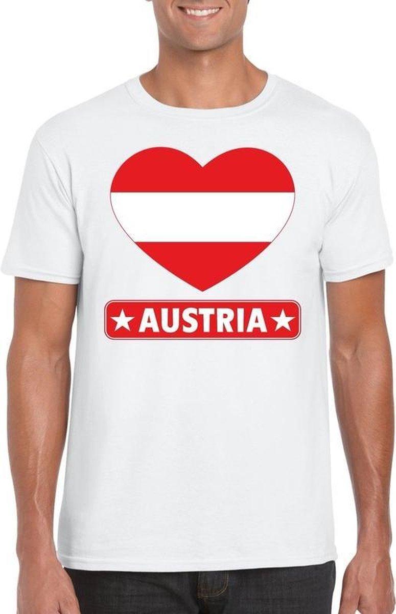 Oostenrijk hart vlag t-shirt wit heren S