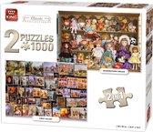 King 2 in 1 Puzzel 1000 Stukjes (68 x 49 cm) - Classic Collectie - Klassieke Legpuzzel