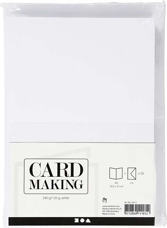 Kaarten en enveloppen, afmeting kaart 10,5x15 cm, afmeting envelop 11,5x16,5 cm, 50 sets, wit