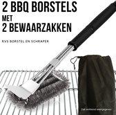 Gohh® 2 BBQ Borstels met Schraper - Schoonmaakborstel - Barbecue Krabber met 2 Handige Bewaarzakken 2 in 1