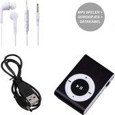 Mini MP3 Speler met Oordopjes en USB Kabel Zwart