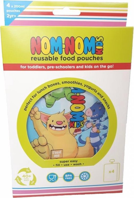Nom Nom Kids grote Herbruikbare/ hervulbareknijpzakjes monsters (4 stuks)