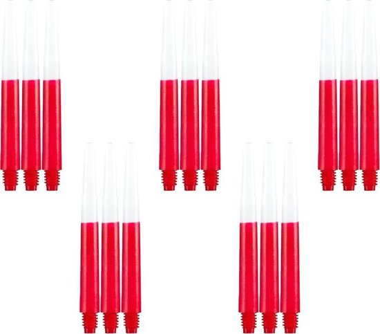 Dragon darts - Two Tone rood - medium - dart shafts - multipack 5 sets - darts shafts