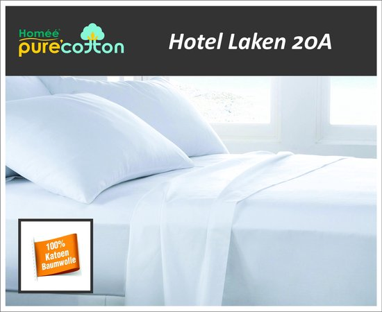 Homéé® Laken hotel 20A Wit 100% katoen Tweepersoons 240x290/4cm