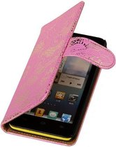 Apple iPhone 5c Hoesje - Roze Lace/Kant design - Book Case Wallet Cover Hoes