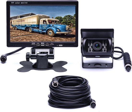 BrandWay Bedrade Achteruitrijcamera set met 7 inch scherm - Achteruitrij Camera bedraad voor Auto - Camper - Caravan - Vrachtwagen - Landbouw