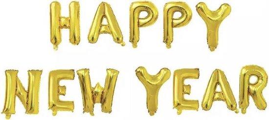 Happy New Year folieballonnen goud 40cm - 2019 - 2020 Nieuwjaar