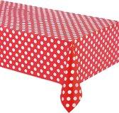 UNIQUE - Rood plastic tafelkleed met witte stippen 137 x 274 cm - Decoratie > Tafelkleden, placemats en tafellopers