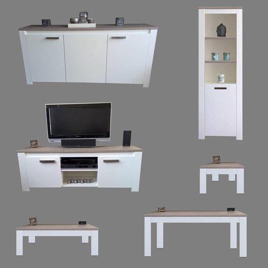Salontafel Milaan - Grijs Eiken / Wit Onderstel - 60 x 120 cm - Ik Woon Modern
