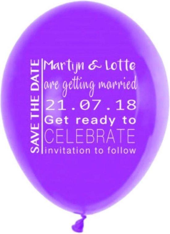 Save the date ballonnen - gepersonaliseerd - 100 stuks | Bruiloft