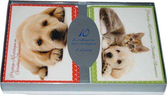 50 stuks Kerstkaarten - Nieuwjaarskaarten met envelop | 5 pakjes | serie 16-11 Honden en Konijnen