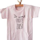Merkloos Aankondiging bekendmaking zwangerschap tekst grote zus Baby T-shirt 92