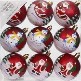 9x Rode kerstballen 6 cm kunststof met print - Onbreekbare plastic kerstballen - Kerstboomversiering rood