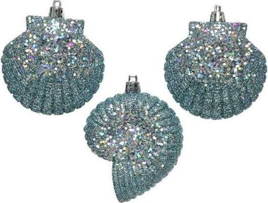 3x Kersthangers figuurtjes lichtblauwe zeeschelp met glitters 8 cm - Zee thema kerstboomhangers
