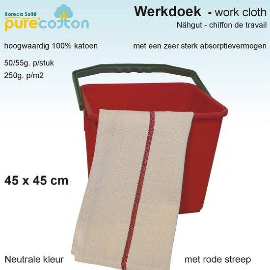 Homéé - Werkdoekjes ecru met rood band 100% Katoen   12 stuks   45x45cm
