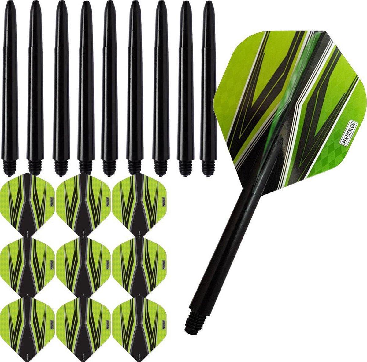 ABC Darts Flights Pentathlon - Dart flights en Medium Dart Shafts - Spitfire zwart groen - 3 sets
