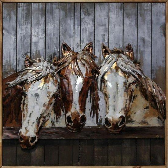 Welp bol.com | 3D Schilderij Metaal Op Hout - Paarden PL-08