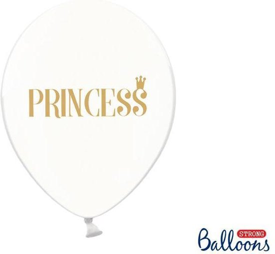 Ballonnen clear Princess goud 50 stuks