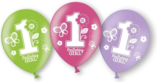 Amscan Ballonnen 1 Jaar Sweet Birthday Meisjes 27,5 Cm 6 Stuks