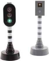 Speelgoed stoplicht met flitspaal op batterijen 27 cm - Kinderspeelgoed verkeerslichten - Wegen bouwen