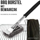 Gohh® BBQ Borstel met Schraper - Schoonmaakborstel - Barbecue Krabber met Handige Bewaarzak 2 in 1