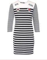 Geisha lange zachte dunnere sweater jurk zwart wit - maat 152