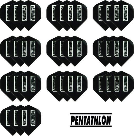 deDartshop 10 Sets (30 stuks) Pentathlon flights Multipack - Zwart