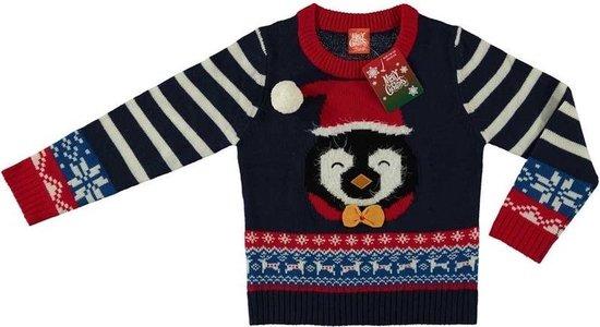 Donker blauwe kersttrui pinguin voor kinderen - Foute kersttruien jongens/meisjes 92/98 (2/3 jaar)
