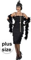 Grote maten zwarte jaren 20 flapper jurk lang voor dames - kostuum 52-54 (2XL)