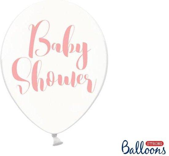 Ballonnen clear Babyshower roze 50 stuks