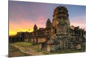 Zonsopgang in Angkor Wat in Cambodja Aluminium 180x120 cm - Foto print op Aluminium (metaal wanddecoratie) XXL / Groot formaat!