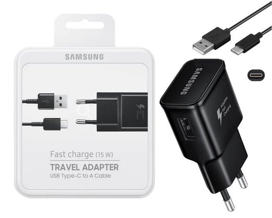 Samsung universele USB-C thuislader + datakabel - zwart - snel laden 15W