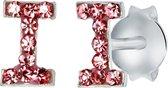 Lucardi Zilveren oorbellen Initialen I - Meisjes - Roze kristal