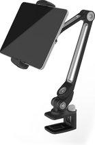 Universele iPad/Tablet/Smartphone Houder compatibel met bijna alle apparaten (van 12,9 cm tot 22 cm) 360° draaibaar Desktopstaander met Stabiele klem,voor bevestiging  aan tafels en kanten multifunctioneel Bureau/Werkplaats/Keuken/slaapkamer