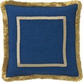 PALAIS sierkussen Grace (Navy Blauw, 50x50 cm) - 100% linnen - Duurzaam - Handgemaakt