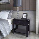 Nachtkastje Zwart hout (Incl Nachtlamp) met lades - nacht kastje - kastje slaapkamer - Nachtkast slaapkamer