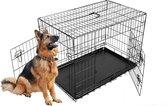 Topmast  Hondenbench zwart 121x76x82 CM + Pvc Lade -  2 deuren